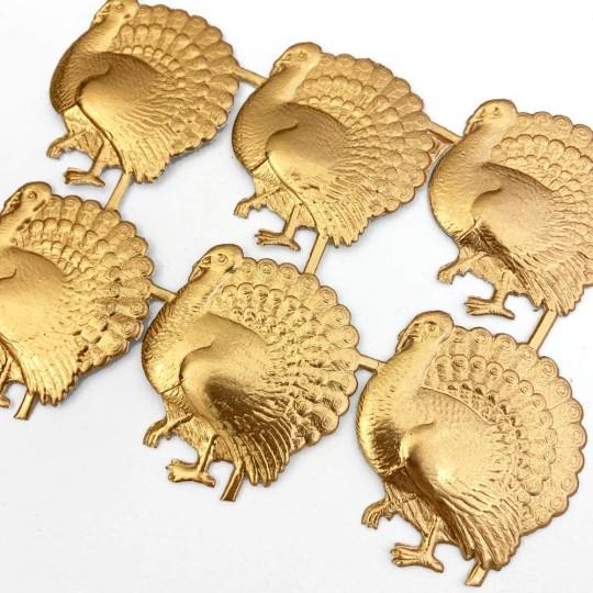 Antique Gold Dresden Foil Turkeys ~ 6