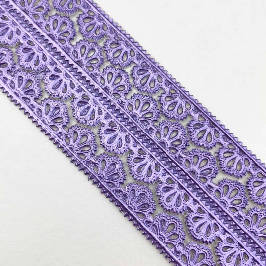 "Light Purple Dresden Scalloped Floral Trim ~ 3/8"" wide"