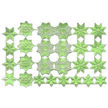 Light Green Dresden Foil Stars & Halos ~ 26 Assorted