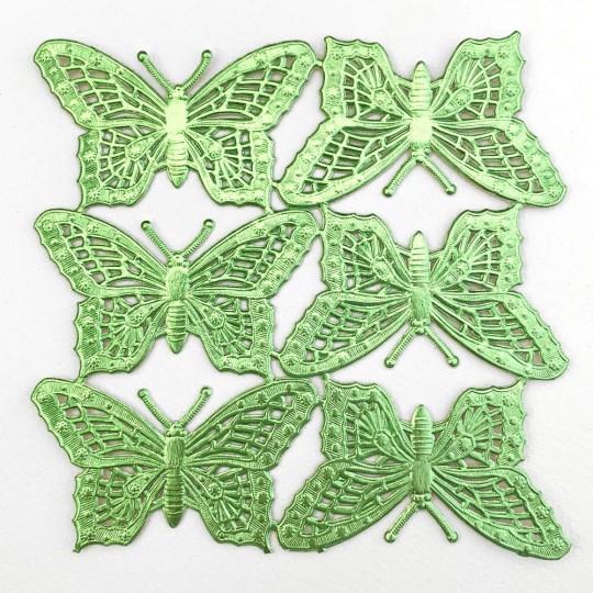 Light Green Dresden Foil Butterflies ~ 6