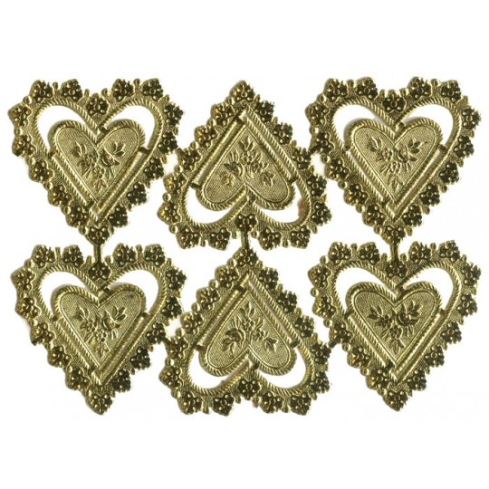 Gold Dresden Foil Heart Frames ~ 12 pieces