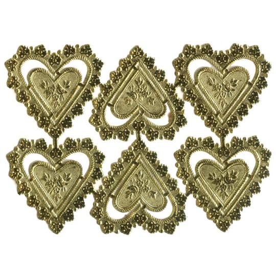Gold Dresden Foil Heart Frames ~ 12 pieces