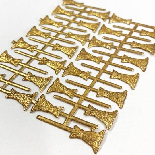 Antique Gold Dresden Witch Brooms ~ 28 ~ Vintage Sheet