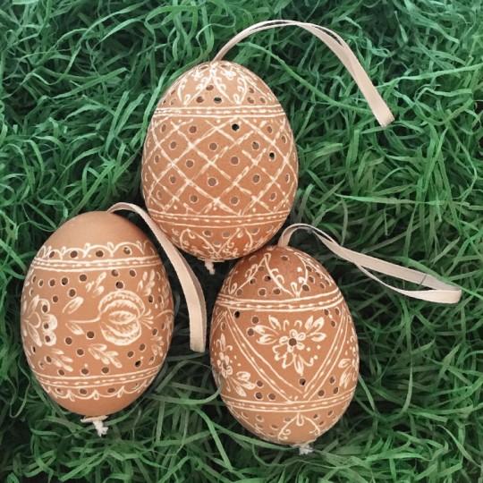 Perforated Brown Eastern European Egg Ornament ~ Handmade in Slovakia