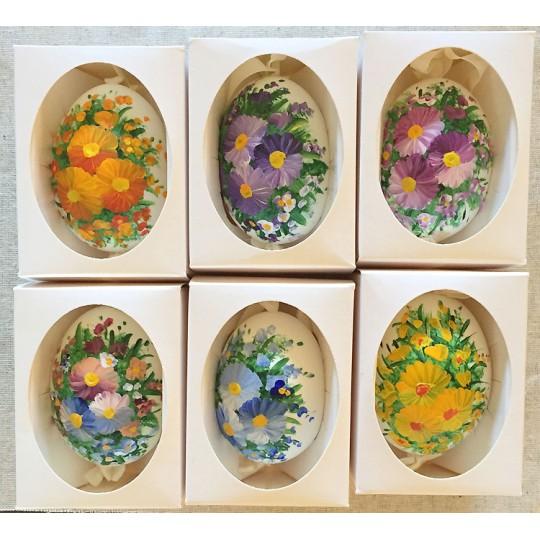 Magenta Flowers Eastern European Egg Ornament ~ Large Duck Egg~ Handmade in Slovakia
