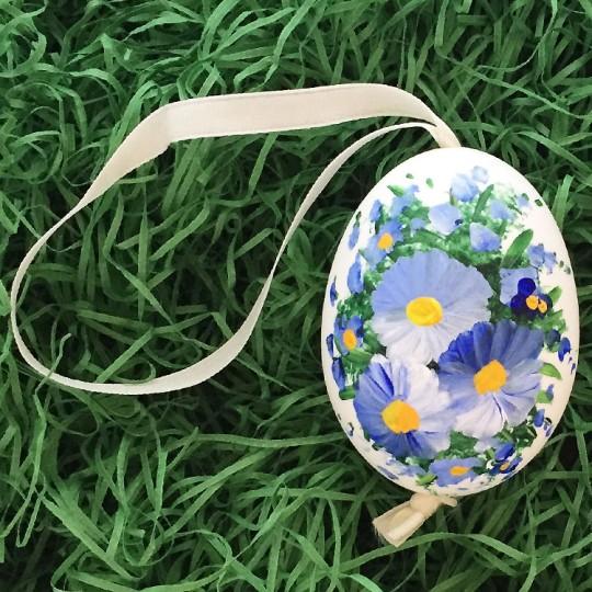 Blue Flowers Eastern European Egg Ornament ~ Large Duck Egg~ Handmade in Slovakia