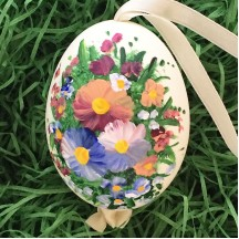 Mixed Flowers Eastern European Egg Ornament ~ Large Duck Egg~ Handmade in Slovakia