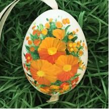 Orange Flowers Eastern European Egg Ornament ~ Large Duck Egg~ Handmade in Slovakia
