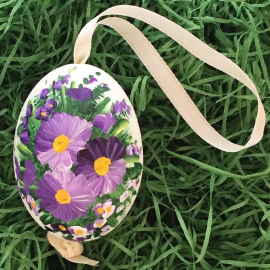 Violet Purple Flowers Eastern European Egg Ornament ~ Large Duck Egg~ Handmade in Slovakia