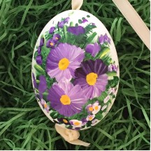 Violet Purple Flowers Eastern European Egg Ornament ~ Large Duck Egg~ Handmade in Slovakia