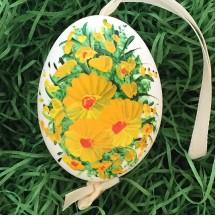 Yellow Flowers Eastern European Egg Ornament ~ Large Duck Egg~ Handmade in Slovakia