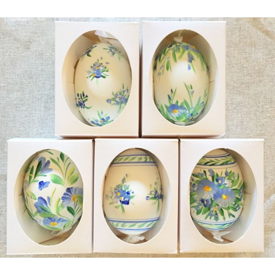 Blue Striped Floral Eastern European Egg Ornament ~ Large Duck Egg~ Handmade in Slovakia