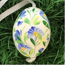 All Over Blue Floral Eastern European Egg Ornament ~ Large Duck Egg~ Handmade in Slovakia