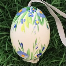 Blue Hanging Floral Eastern European Egg Ornament ~ Large Duck Egg~ Handmade in Slovakia