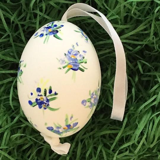 Blue Floral Eastern European Egg Ornament ~ Large Duck Egg~ Handmade in Slovakia