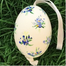 Blue Floral Eastern European Egg Ornament ~ Large Duck Egg~ Handmade in Slovakia