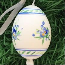 Blue Striped Floral Eastern European Egg Ornament ~ Large Duck Egg~ Handmade in Slovakia