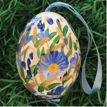 Mixed Blue Meadow Floral Eastern European Egg Ornament ~ Large Duck Egg~ Handmade in Slovakia