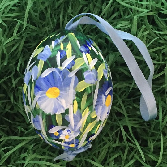 Blue Meadow Floral Eastern European Egg Ornament ~ Large Duck Egg~ Handmade in Slovakia