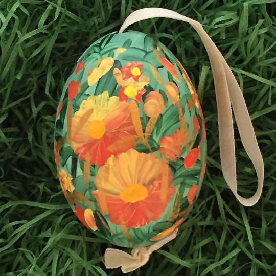 Mixed Orange Meadow Floral Eastern European Egg Ornament ~ Large Duck Egg~ Handmade in Slovakia