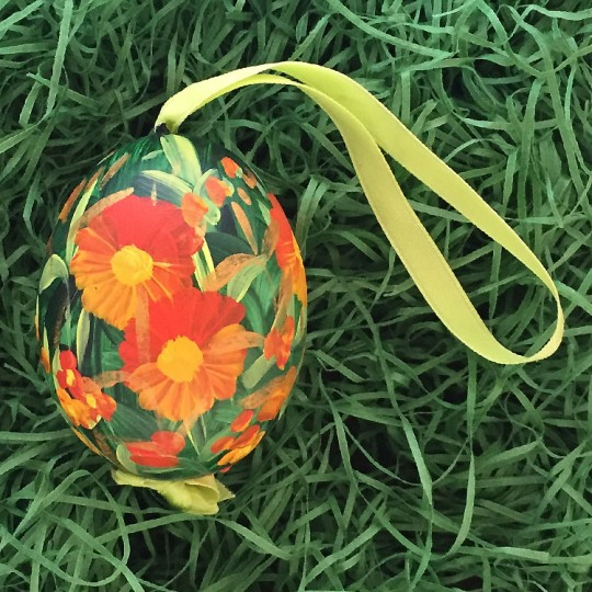 Orange Meadow Floral Eastern European Egg Ornament ~ Large Duck Egg~ Handmade in Slovakia
