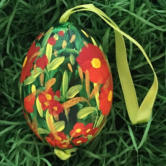 Red Meadow Floral Eastern European Egg Ornament ~ Large Duck Egg~ Handmade in Slovakia