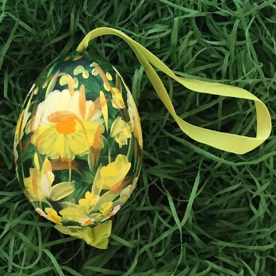 Yellow Meadow Floral Eastern European Egg Ornament ~ Large Duck Egg~ Handmade in Slovakia