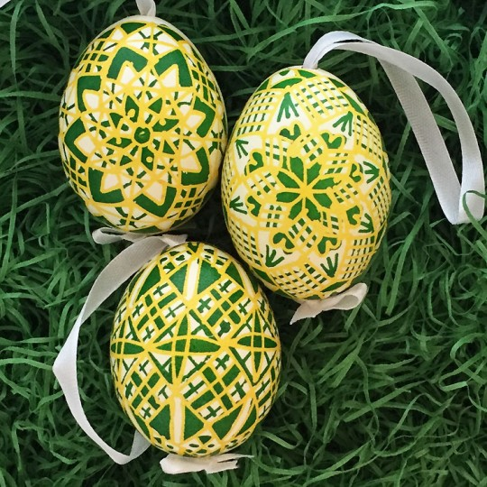 Traditional Yellow and Green Pysanky Eastern European Egg Ornament ~ Handmade in Slovakia