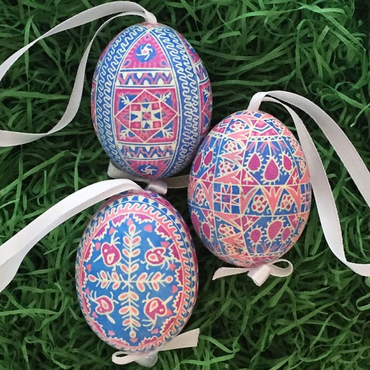 Intricate Pink and Blue Pysanky Eastern European Egg Ornament ~ Handmade in Slovakia