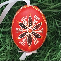 Folkloric Red and Black Eastern European Egg Ornament ~ Handmade in Slovakia