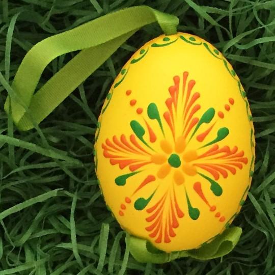 Yellow Folkloric Floral Eastern European Egg Ornament ~ Handmade in Slovakia