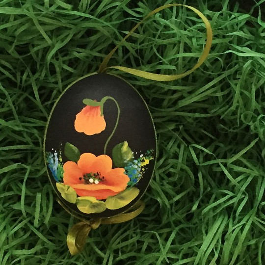 Dramatic Poppies Floral Eastern European Egg Ornament ~ Handmade in Slovakia