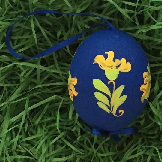 Dramatic Roses Floral Eastern European Egg Ornament ~ Handmade in Slovakia