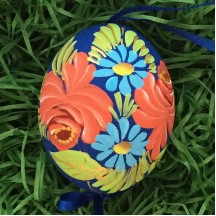 Dramatic Roses Floral Eastern European Egg Ornament ~ Handmade in Slovakia