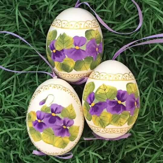 Purple Violets Floral Eastern European Egg Ornament ~ Handmade in Slovakia