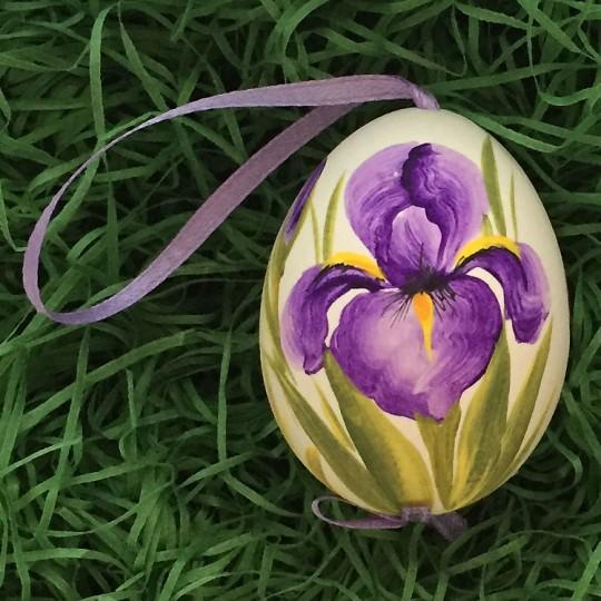 Purple Iris Floral Eastern European Egg Ornament ~ Handmade in Slovakia