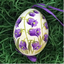 Purple Canterbury Bell Floral Eastern European Egg Ornament ~ Handmade in Slovakia