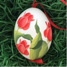 Red Tulip Floral Eastern European Egg Ornament ~ Handmade in Slovakia
