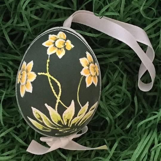 Daffodils on Green Eastern European Egg Ornament ~ Handmade in Slovakia