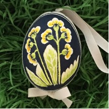 Campanulas on Navy Eastern European Egg Ornament ~ Handmade in Slovakia