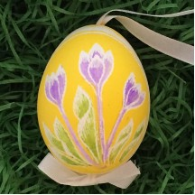 Crocus on Yellow Eastern European Egg Ornament ~ Handmade in Slovakia