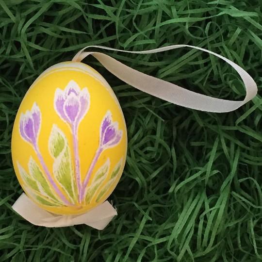 Crocus on Yellow Eastern European Egg Ornament ~ Handmade in Slovakia