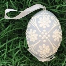 Pale Blue with White Floral Dot Eastern European Egg Ornament ~ Handmade in Slovakia