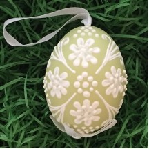 Green with White Floral Dot Eastern European Egg Ornament ~ Handmade in Slovakia