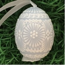 Pale Blue with White Icing Eastern European Egg Ornament ~ Handmade in Slovakia