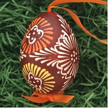 Folkloric Brown and Yellow Eastern European Egg Ornament ~ Handmade in Slovakia