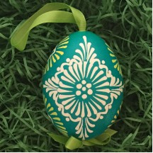Folkloric Teal and Yellow Eastern European Egg Ornament ~ Handmade in Slovakia