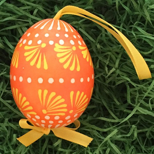 Folkloric Orange and Yellow Eastern European Egg Ornament ~ Handmade in Slovakia