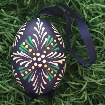 Folkloric Navy and White Eastern European Egg Ornament ~ Handmade in Slovakia