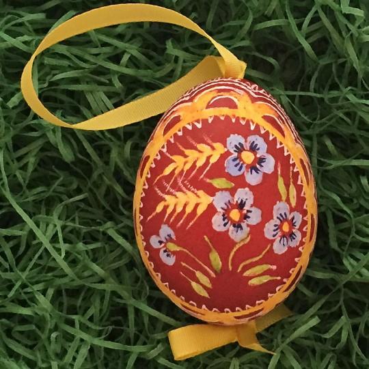 Blue Forget Me Nots on Dark Red Eastern European Egg Ornament ~ Handmade in Slovakia